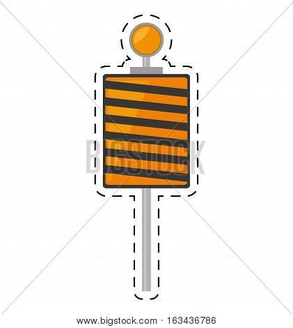 roadblock traffic light warning cut line vector illustration eps 10