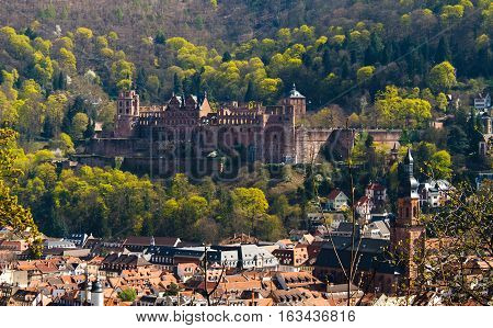HEIDELBERG, GERMANY - MAR 29, 2014: View of Renaissance style Heidelberg Castle - ruin and a landmark in Germany. Popular tourist destination most famous attraction of the area