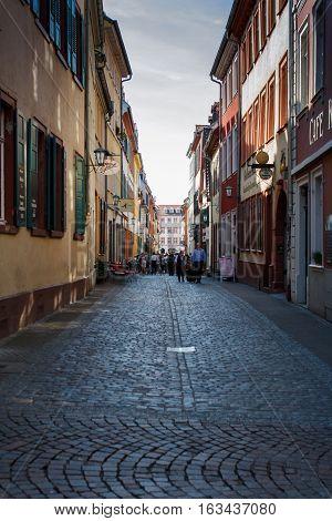 Cosy street in Heidelberg, Germany on a sunny day
