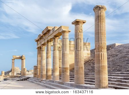 Ruins of ancient temple. Lindos. Rhodes island