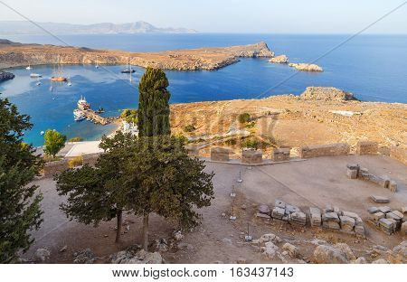 View at Lindou Bay from Lindos Rhodes island