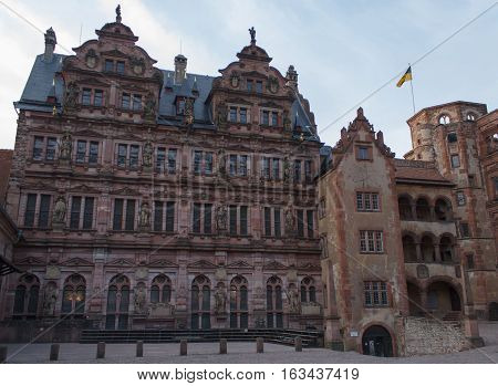 HEIDELBERG, GERMANY - MAR 29, 2014: The Heidelberg Castle, famous ruin and landmark of medieval town of Heidelberg, without people.