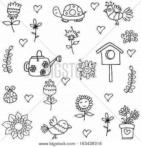 Doodle of spring collection stock vector illustration
