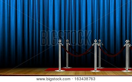 Red carpet on stage with blue curtain