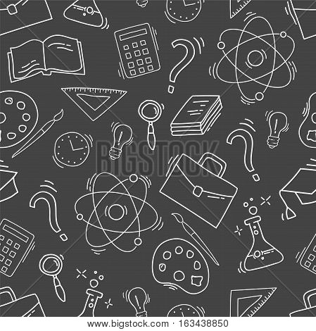 Hand Drawn Study seamless pattern with school accessories. Sketch background with icons. Monochrome doodles illustration. Wallpaper with school elements and objects. Back to school.