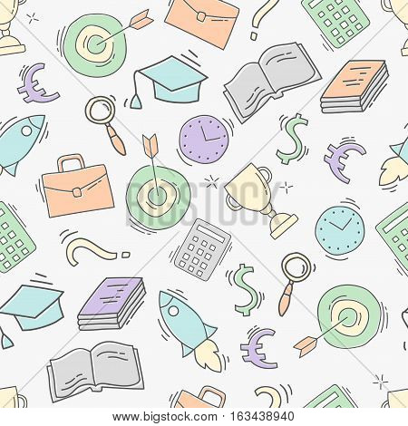 Hand drawn business seamless pattern. Sketch background with icons. Colorful doodle illustration. Wallpaper with elements and objects. Vector illustration