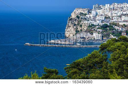 Gargano coast: bay of Rodi garganico.-(Apulia) ITALY-Panoramic view of the old city.