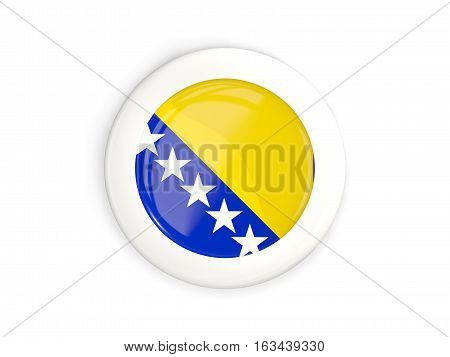 Flag Of Bosnia And Herzegovina, Glossy Round Button