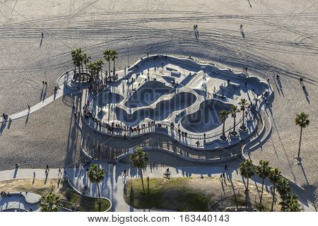 Los Angeles, California, USA - December 17, 2016:  Aerial of Venice beach skateboard park in Southern California.
