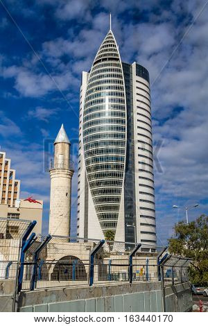 HAIFA ISRAEL - DECEMBER 11: The Sail Tower - District Government Center in Haifa Israel on December 11 2016