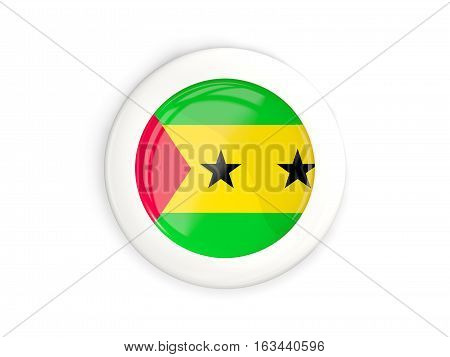 Flag Of Sao Tome And Principe, Glossy Round Button