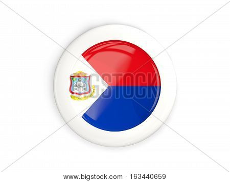 Flag Of Sint Maarten, Glossy Round Button