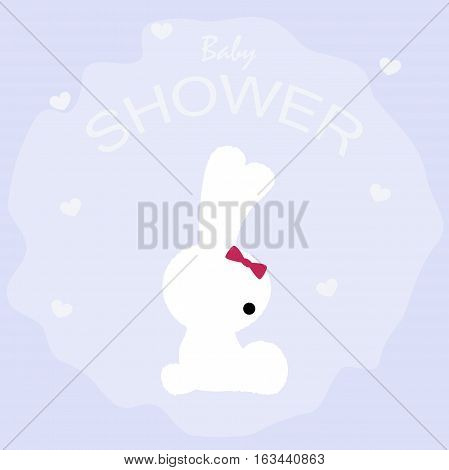 cute baby shower poster with the Bunny on a blue background. pattern for greeting or invitation. vector illustration. baby shower or arrival