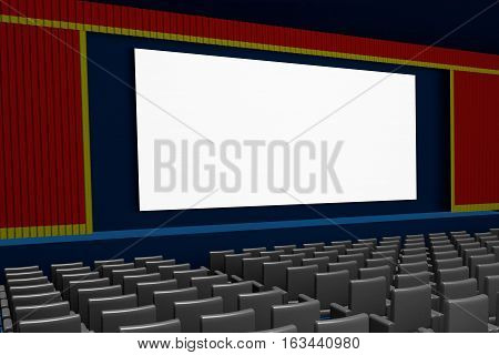 Empty Movie Theater Blank Screen Side View