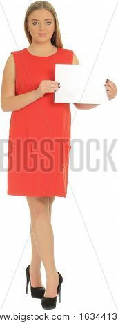 Young overweight woman with sign isolated on white