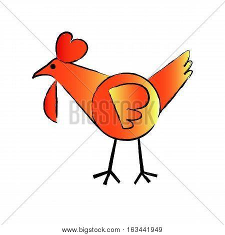 chicken orange vector design on white background