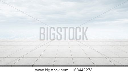 Business concept - Empty concrete floor top with morning grey bright cloud sky for display or montage product