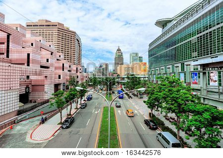 TAIPEI TAIWAN - NOVEMBER 11: This is a view Xinyi financial district architecture in downtown Taipei on November 11 2016 in Taipei