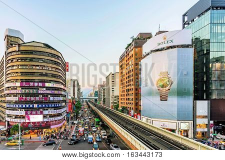 TAIPEI TAIWAN - NOVEMBER 11: This is the view from Zhongxiao Fuxing mrt station where you can see one of the main shopping districts of Taipei on November 11 2016 in Taipei