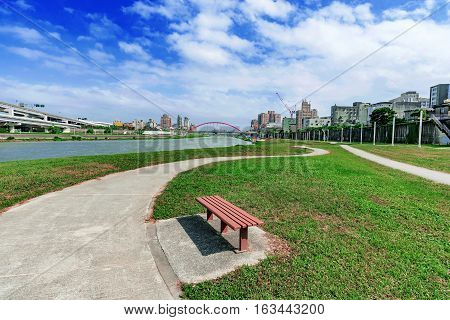 Riverside park area in Taipei on a sunny day