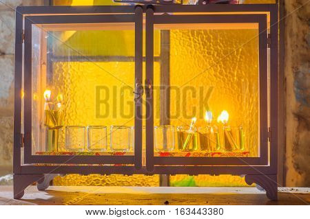 Traditional Menorah (hanukkah Lamp) With Olive Oil Candles