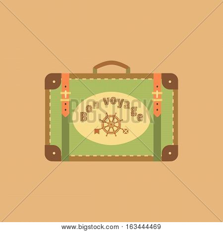 Travel icon concept. Have nice trip - Bon Voyage in French. Freehand fancy cartoon style. Retro vintage luggage emblem. Tourist sea tour bag sign symbol. Banner background vector element