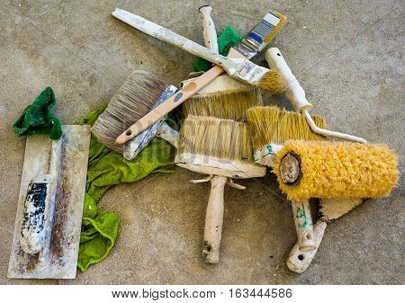 work tools used for painting of buildings