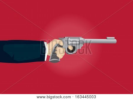 Vector cartoon illustration of hand pulling gun trigger isolated on red background.