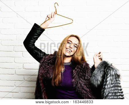 Smiling Fashionable Woman In Fur