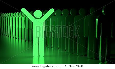 Green happy glowing man standing next to a row of ordinary people individuality concept 3D illustration