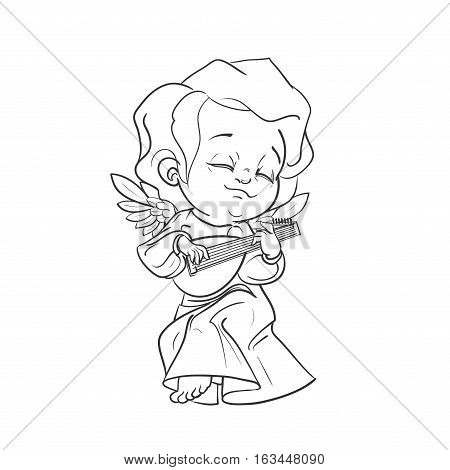 Cute smiling angel kin making music plaing lute. Vector illustration. Good for seasonal greeting, redwork, coloring page. Ink line work, contour