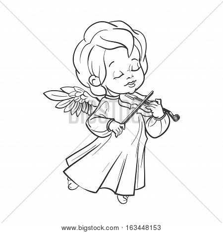 Cute smiling angel kin making music plaing violin. Vector illustration. Good for seasonal greeting, redwork, coloring page. Ink line work, contour
