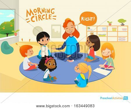 Laughing redhead teacher asks children questions and encourage them during morning lesson in preschool classroom. Pre-primary school education concept. Vector illustration for poster, advertisement.