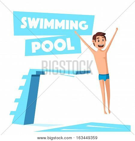 Swimming pool with a diving board. Cartoon Vector illustration. Sport and recreation. Preparing to jump and dive. Vintage style.