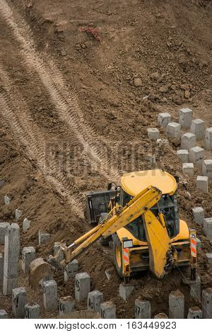 Reinforced concrete piles on the construction site