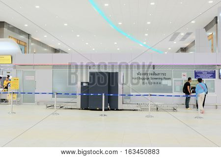 Blurred Background : Hold Baggage Screening Room in Terminal Departure at airport
