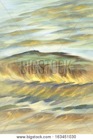 Sea view background. Blue sea or ocean transparent shallow water over pebble bottom of stony beach coast. Wave is incident on the beach stones.