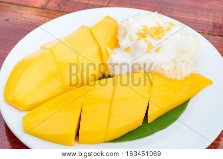 Thai style tropical dessert Sweet Sticky rice with mangoes