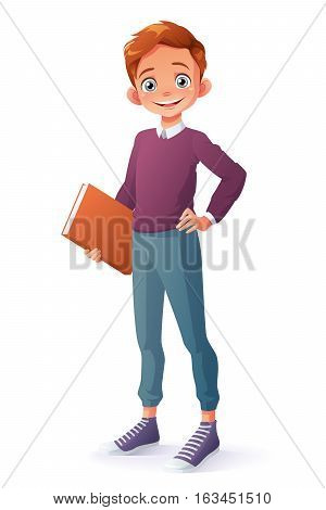 Cute and clever smiling young school student boy holding book. Cartoon style vector illustration isolated on white background.
