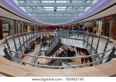 STUTTGART, GERMANY - APRIL 16, 2016: Interior of the modern shopping center