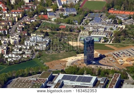 Stuttgart, Germany - April 24, 2015: Aerial view of modern district of Stuttgart. Residential buildings and skyscraper. Baden-Wurttemberg.