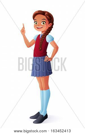 Cute pretty smiling young school student girl got the idea and index finger pointing up. Cartoon style vector character isolated on white background.