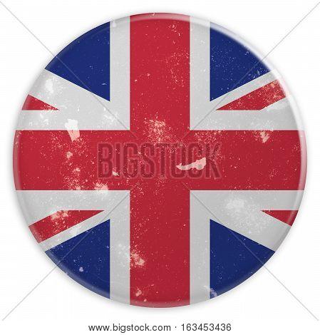 Vintage Grunge Button UK Union Jack Flag 3d illustration on white background
