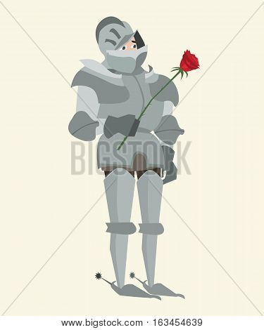 knight in armour with red rose vector funny cartoon illustration