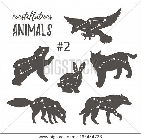 Vector space set with cosmic animals. Hand drawn silhouettes of animals in hipster style. Set of constellations of wild animals isolated on the white background.