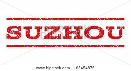 Suzhou watermark stamp. Text caption between horizontal parallel lines with grunge design style. Rubber seal stamp with dirty texture. Vector intensive red color ink imprint on a white background.