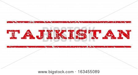 Tajikistan watermark stamp. Text caption between horizontal parallel lines with grunge design style. Rubber seal stamp with scratched texture.