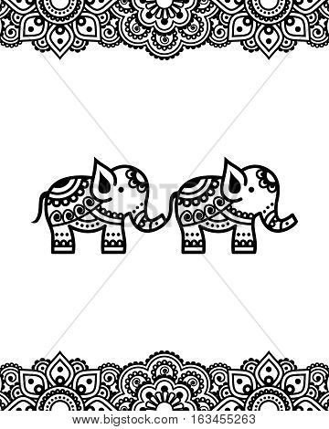 Mehndi, Indian Henna tattoo design with elephants - greetings card, poster, lace ornament