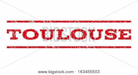 Toulouse watermark stamp. Text tag between horizontal parallel lines with grunge design style. Rubber seal stamp with scratched texture. Vector intensive red color ink imprint on a white background.