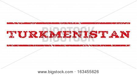 Turkmenistan watermark stamp. Text caption between horizontal parallel lines with grunge design style. Rubber seal stamp with scratched texture.